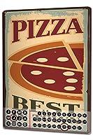 カレンダー Perpetual Calendar Nostalgic Fun Pizza Tin Metal Magnetic