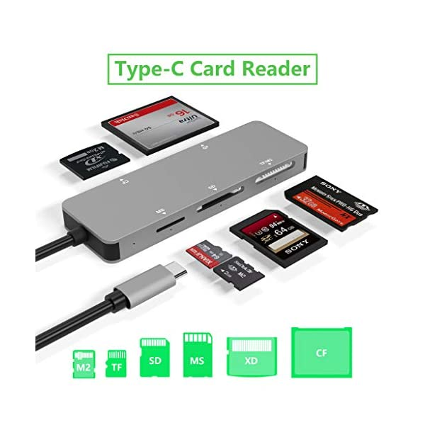 USB C Card Reader, 5 in 1 Aluminum Card Reader, Type C (5Gps) High Speed Card Reader with TF/SD/MS/M2/XD/CF Memory Card Solt, Plug and Play