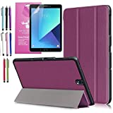 Galaxy Tab S3 9.7 Case, EpicGadget(TM)Tri-fold Stand Ultra Lightweight Slim Smart Cover PU Leather Case for Samsung S3 9.7' Tablet With Tab S3 9.7 Screen Protector and 1 Stylus (Purple)