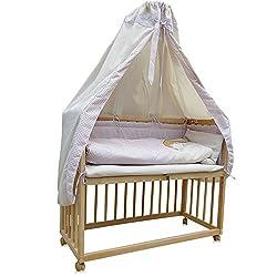 Beistellbett Kinderbett Gitter Himmelbett Babybett Bett Stillbett inkl. 9 tlg. Zubehör (Buche/beige)