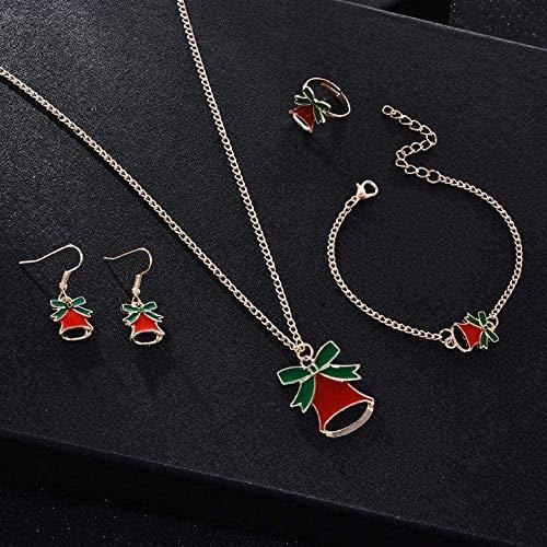 ZHIFUBA Co.,Ltd Collar para Mujeres Hombres Collar de Navidad Joyas Collar Pendientes Anillo Pulsera Conjunto Mujeres Niñas