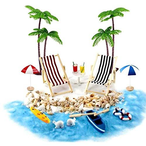 Doll House Accessori miniatura Beach Arredatore Beach Micro paesaggio DIY Dollhouse e impianto di decorazione 18PCS