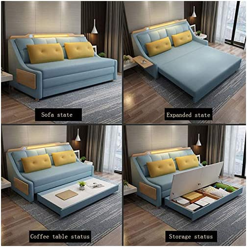 New Convertible Sleeper Sofa Bed,Living Room with Night Light and Loveseat Fold Out Storage Sofa Bed,European Futon…
