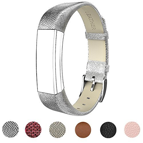 For Fitbit Alta HR and Alta Band With Metal Clasp, Premium Soft Genuine Leather Wristband Strap Replacement Watch Band for Fitbit Alta/Fitbit Alta HR 2017/Alta HR Smart Fitness Tracker(Silver)
