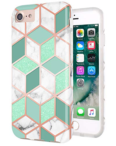 RXKEJI iPhone 7 Case iPhone 8 Case Actual Glitter Sparkle Mint Cube Marble Design Flexible Bumper TPU Soft Rubber Silicone Cover Phone Case for iPhone 7 iPhone 8 iPhone 6 6S