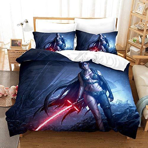JXSMYT Juego de ropa de cama 3D Star Wars, funda nórdica y funda de almohada con cremallera, ropa de cama infantil (135 x 200 cm + 1 x 50 x 75 cm)