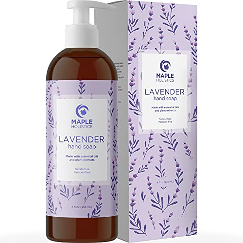 Lavender Hand Soap - Premium Aromatherapy Hand Soap Liquid with Lavender Essential Oil - Moisturizing Hand Wash Relaxing Lavender Scent - Perfect as a Kitchen Hand Soap with Pump