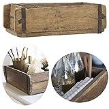 LS-LebenStil Alte Holz Aufbewahrung-Box Ziegelform 1-Fach Braun 31x15x9cm Original Unika