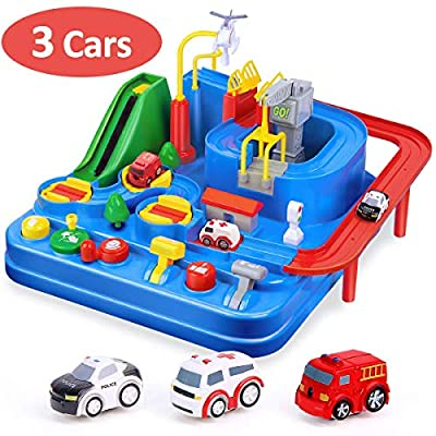 CubicFun Race Tracks for Boys Car Adventure Toys for 3 4 5 6 7 8 Year Old Boys Girls, City Rescue Preschool Educational Toy Vehicle Puzzle Car Track Playsets for Toddlers, Kids Toys Age 3+ from CubicFun