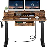 Rolanstar Standing Desk with Drawers, 55' Height Adjustable Desk with Power Outlet & Monitor Shelf,...