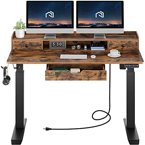 Rolanstar Standing Desk with Drawers, 55' Height Adjustable Desk with Power Outlet & Monitor Shelf, Electric Stand Up Home Office Desk with Headphone Hooks, Rustic Brown