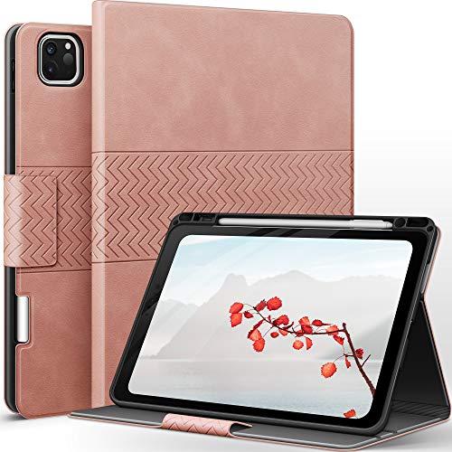 AUAUA Hülle für iPad Pro 11 2020 & 2018 - mit Apple Stifthalter PU Leder Auto Sleep/Wake Funktion Smart Cover für iPad Pro 11 1st 2018/2nd Generation 2020 (Rosa)