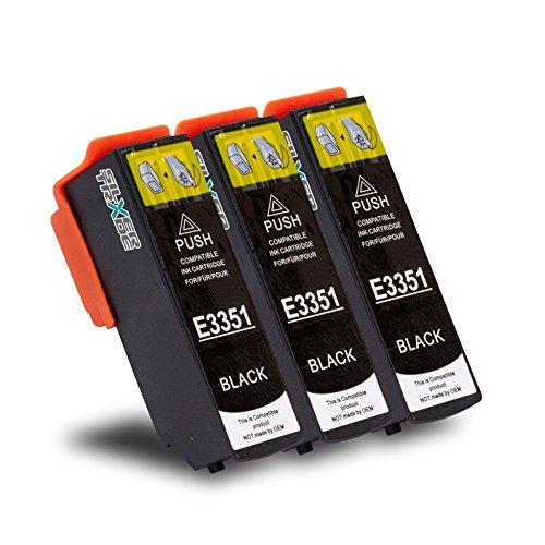 3 Druckerpatronen kompatibel zu EPSON T3351 T33XL Schwarz mit CHIP & Füllstandsanzeige für Epson Expression Premium XP-530, XP-540, XP-630 Series, XP-635, XP-640, XP-645, XP-830, XP-900
