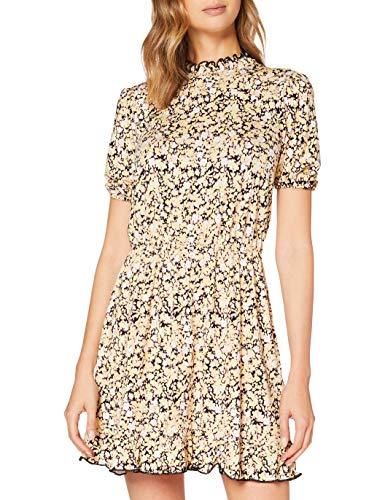 Miss Selfridge Pale Yellow Shirred Neck Smock Dress Vestito Casual, Giallo Pallido, 6 Donna