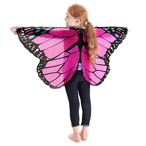 Faschingskostüme Schmetterling Schal Kinder Kostüm Schmetterlingsflügel Pixie Halloween Cosplay Schmetterlingsf Butterfly Wings Flügel LMMVP (A- Hot Pink)