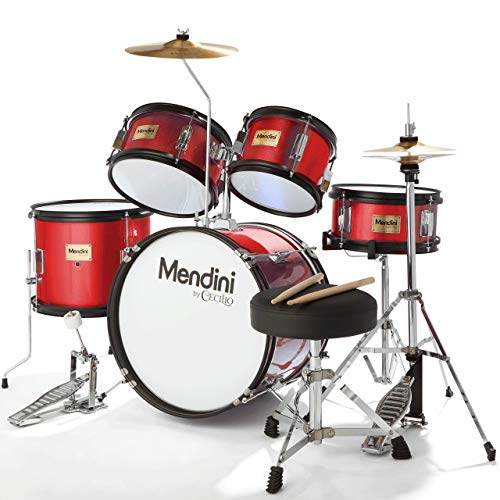 Mendini By Cecilio Drum Set For Kids/Junior - 16-Inch, 5-Piece, Red Bright Metallic - Starter Drums Kit w/Adjustable Throne, Cymbal, Pedal & Drumsticks - MJDS-5-BR