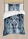 Juego de funda de edredón de Horror House, obra de arte con diseño de calavera de cabra de Pentagrama, imagen exorcista con capucha, juego de cama decorativo de 2 piezas con 1 almohada, color azul