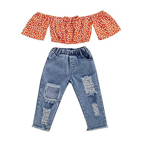 Lefyira Toddler Baby Girl Jeans Outfits Off Shoulder Tube Top Ruffle Sunflower Shirt Ripped Jeans Denim Pant Summer Clothes(Q-Orange,3-4 Years)