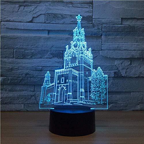 Tatapai Luces nocturnas para niños, lámpara de ilusión 3D, reloj óptico de torre con control remoto táctil, 7 colores cambiantes, regalo decorativo para niños o niñas