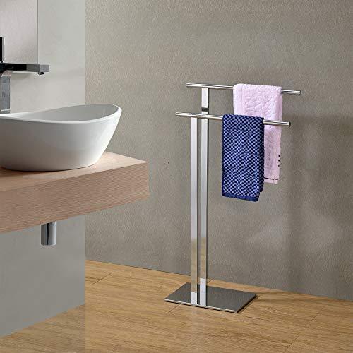 Kings Brand Furniture - Marinali Metal Freestanding Bathroom Towel Rack Stand, Chrome
