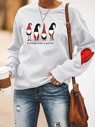 knowledgi Sudadera de manga larga para mujer, suéter de Navidad y mujer, cuello redondo, casual, otoño, camiseta de manga larga, sudaderas estampadas de moda