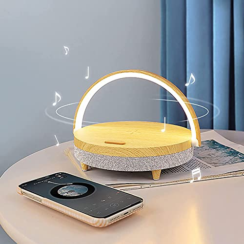 LLCX Altavoz Bluetooth, teléfono, Carga inalámbrica, luz de Noche, Soporte para teléfono Celular, lámpara de Mesa, lámpara de Noche, 3 Brillos Regulables,A