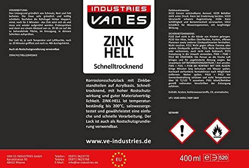 Zinkspray Hell 400ml / Rostschutz aus Zink hitzebeständig 200°C und eignet sich als Grundierung für Metall/Schnelltrocknend/Grau/Feuerverzinkung (12,25€/l) (1)
