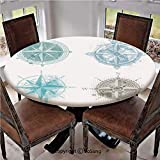 "Elastic Edged Polyester Fitted Table Cover,Four Different Windrose Figures with Faded Look Nautical Equipment Sea Life Decorative,Fits up 40""-44"" Diameter Tables,The Ultimate Protection for Your Table"