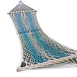 SENCILLON Amaca per il tempo libero, doppia larghezza in cotone, con corda per amaca, capacità 90,7 kg (blu)