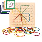 Montessori Wooden Geoboard with 46Pcs Mathematical Manipulative Material Array Block Pattern Cards and Rubber Bands Matrix 8x8 for Kids Graphical Educational Toys Early Development Toy