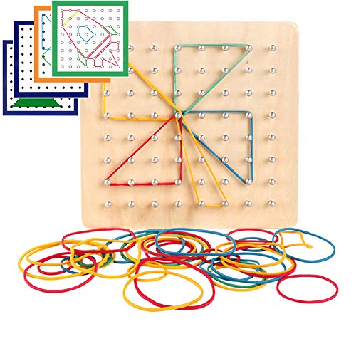 MOPANXI Montessori Wooden Geoboard with 46Pcs Mathematical Manipulative Material Array Block Pattern Cards and Rubber Bands Matrix 8x8 for Kids Graphical Educational Toys Early Development Toy