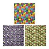 ABAKUHAUS Pack de 3 Bandanas Unisex, Jigsaw Puzzle partes de imagen arte pop retro maravilloso de los puntos de Arte caprichoso floral, Multicolor