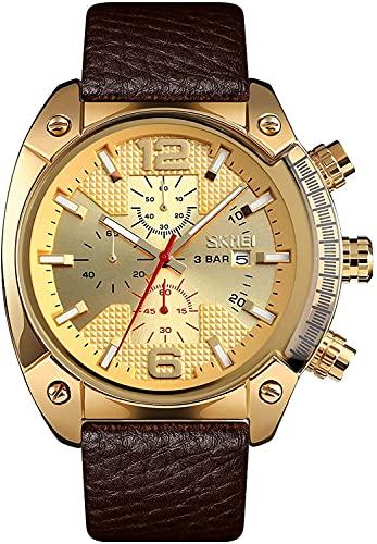 Top Brand Men Luxury Men Watch Business Quartz Watches Brown Cuero Banda Calendario Cronógrafo Reloj Deportivo Impermeable (Color : Gold)