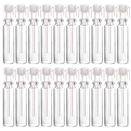 FRCOLOR 50 Pezzi Bottiglie per Nebulizzatori di Profumo da 1 Ml Bottiglie di Nebulizzazione da Viaggio Ricaricabili in Vetro Bottiglie Vuote per Provette per Cosmetici