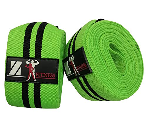 "Z-Fitness Knee Wraps for Weightlifting - Powerlifting, Workout & Squats | Crossfit, Gym, Pain, WOD, Cross Training | Best Support & Compression Strength (Green-Black-L-2, 77"")"