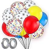 Gejoy 108 Pièces d'Ensemble de Ballons à Empreinte de Patte Ballons en Latex Rouge Jaune Bleu Ballons Confettis 2 Pièces de Ruban d'argent pour Fête à Thème de Patrouille