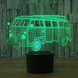 3D Tobogán Led Luz Nocturna Bus Visual Sala De Estar Dormitorio Decoración 7 Colores Cambiantes Usb Decoración Del Hogar