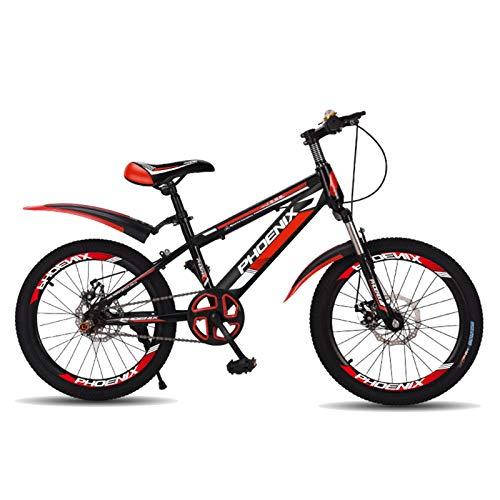 Axdwfd Infantiles Bicicletas Bicicleta de montaña de 18'20', Engranajes de 21 velocidades, suspensión de Horquilla, Bicicleta para niños para niños y niñas (Color : Red, Size : 20in)