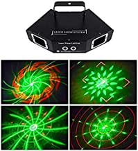 Mopoq Fan-Shaped 4-Hole 3 Color Beam Disco Lights 3D Animation Line Scan Light Self-Propelled Rotating Full Color Stage Eq...
