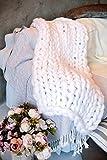 clootess Chunky Knit Blanket Merino Wool Hand Made Throw Boho Bedroom Home Decor Giant Yarn (White 40'x60')