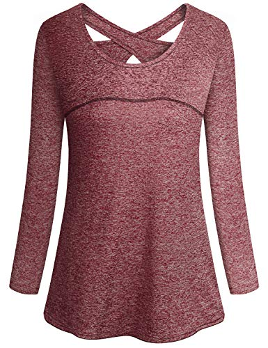 Gym Shirts for Women,Cucuchy Workout Fitness Yoga Quick Dry Tops Flattering Open Back Crew Neck Exercise Clothes Elastic Long Sleeve Athletic Wear Breathable Pilates T-Shirt Red M