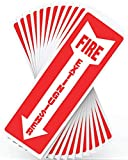 Fire Extinguisher Sign, Safety Sticker Signs - 12 Pack - 4' X 12' - 5 Mil Vinyl - Bright Red and White Colors - Durable Self Adhesive, Weatherproof and UV Protected - Ideal for Home, Office or Boat