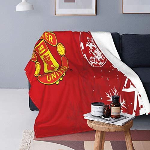Manchester United - Manta de forro polar, tamaño doble, cómoda para cuna, cama, sofá, silla, 152,4 x 127 cm