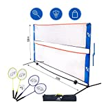 Kale Badminton Set for Adults and Kids with 10-Feet Net Stand/Frame, 4...