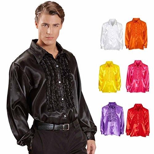 Amakando Camisa con volantes de los años 70, XL 54, color negro, de raso, para hombre, para fiesta de golf,...