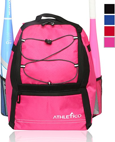 Athletico Youth Baseball Bag - Backpack for Baseball, T-Ball & Softball Equipment & Gear for Boys & Girls | Holds Bat, Helmet, Glove | Fence Hook (Pink)