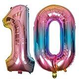 DIWULI, Globos de número XL, número 10, Globos iridiscentes de Arco Iris, Globos de número, Globos de Papel de Aluminio número años, 10º cumpleaños, Boda, Fiesta, decoración, decoración de Regalos