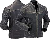 HiFacon Cazadora clásica para hombre, de piel envejecida, estilo retro, para motociclista