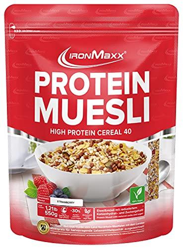 IronMaxx Protein Müsli Veganes Eiweißmüsli laktosefrei, Geschmack Erdbeer, 550 g Beutel (1er Pack)