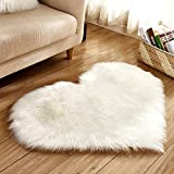 Weisfe78 Heart-shape Carpet Comfort mat Soft Plush Fur Mat, Large Non Slip, Polyester Rug Doormats Carpet Non-Slip Mat for Kitchen Dining and Living Room - 11.81 x 15.74 inch